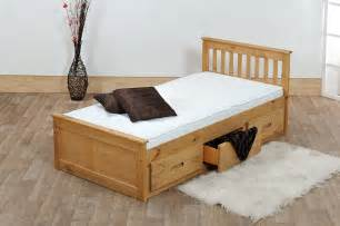 Wooden Bed Frames With Storage Uk Beds 3ft Pine Captains Bed With Underbed 2 X