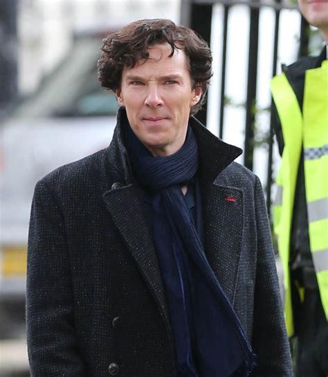 Benedict Cumberbatch in costume on the set of Sherlock