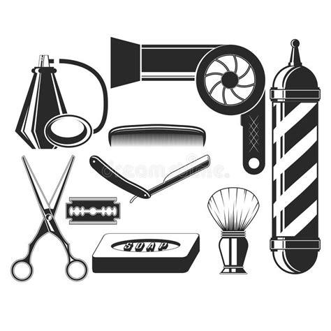 hairdresser retro design elements vector vector set of hair salon elements in vintage style hair
