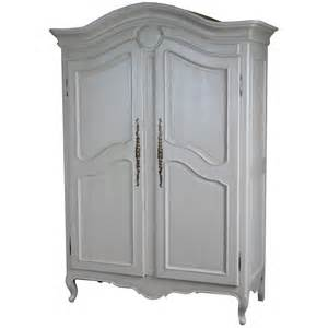louis carved 2 door armoire antique white