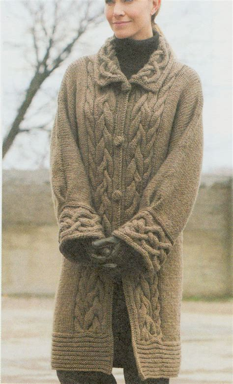 free knitting patterns for coats uk cable chunky aran style coat cabled collar