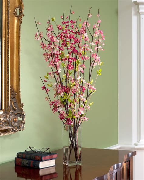 silk arrangements for home decor cherry blossom silk flower accent at petals