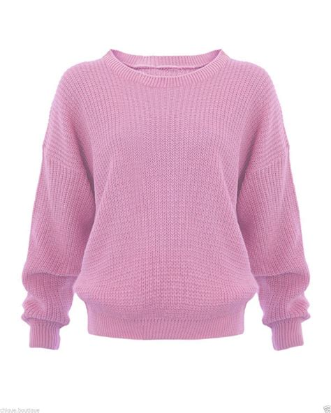 chunky knit jumper womens new womens knitted chunky baggy oversized plain