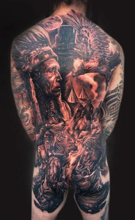 back tattoo epic great epic native american composition tattoo on back by