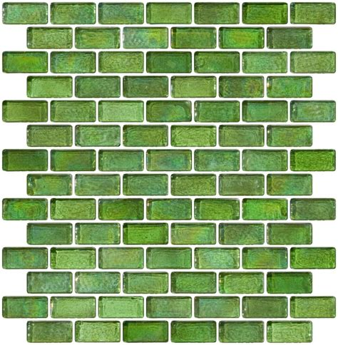 Glass Tile 3/4 x 1 1/2 Inch Green Iridescent Glass