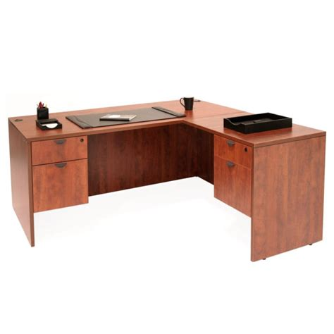 66 quot laminate l shaped desk with hanging pedestals 8