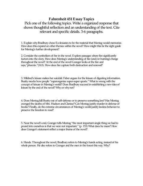 theme essay on fahrenheit 451 fahrenheit 451 essay topics 10th grade reading list