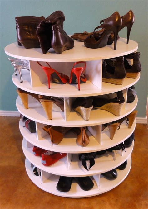 diy lazy susan shoe storage lazy shoezen shoe shelves lazy susan from shoesrack on etsy