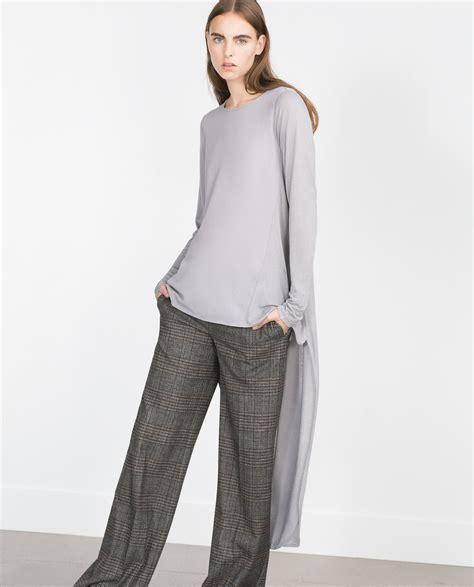 Gxfmw5 By Yutaka Tunic Denim Grey 1 zara asymmetric tunic top in gray lyst