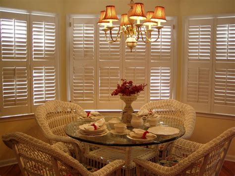 Window Treatments For Bay Windows In Dining Rooms plantation shutters versatile window treatment