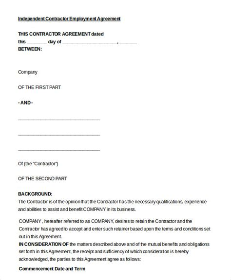 independent sales rep contract template employment agreement template 9 free sle exle