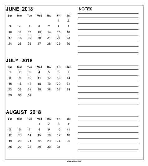 printable calendar july august 2018 june july august 2018 calendar printable happyeasterfrom com