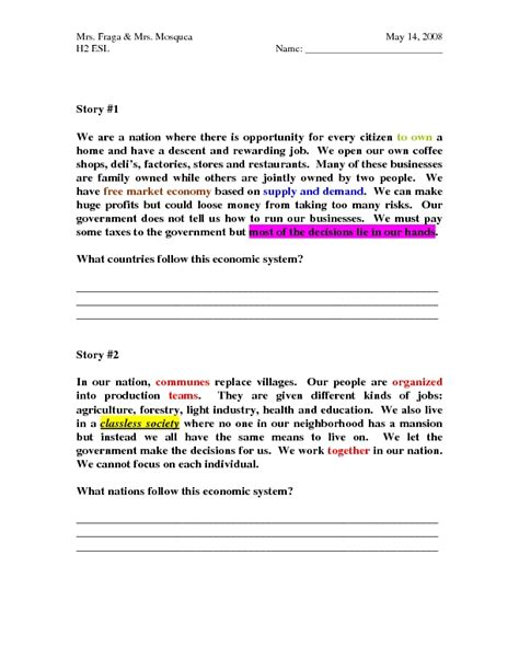 Comparing Economic Systems Worksheet by Comparing Economic Systems Worksheet