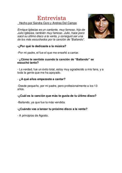 preguntas para una entrevista un cantante trabajo de entrevistas