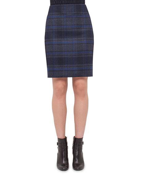 akris plaid wool pencil skirt blue starling