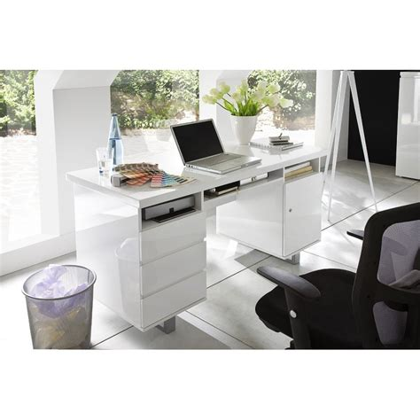 sydney ii white lacquered computer desk office