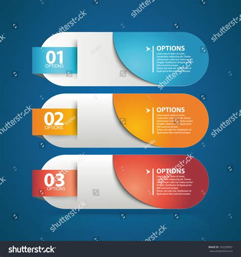 Web Layout Options | colorful option buttons used workflow layout stock vector