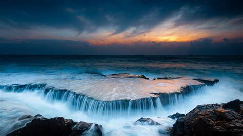 nature landscape sky clouds water sea rock waves
