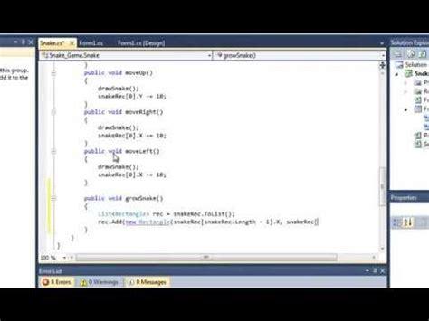 c tutorial snake game c sharp tutorial snake game part four collision detection
