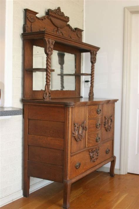 Antique Oak Hutch Highboy Cabinet Sideboard Buffet W Antique Buffets And Hutches