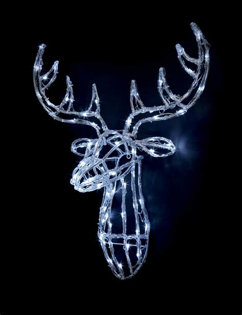 acrylic reindeer head white led lights outdoor christmas