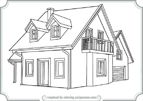 a coloring page of a house coloring page for a house printable coloring pages large