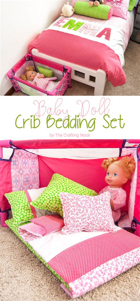 Diy Baby Doll Crib Bedding Set The Crafting Nook By How To Make A Crib Bedding Set