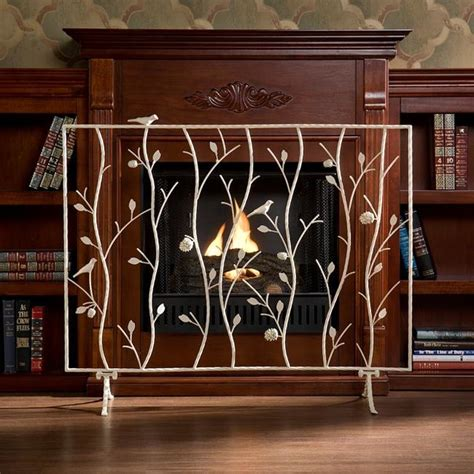 antique white fireplace screen contemporary