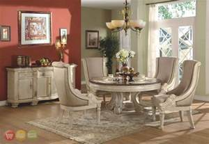 White Formal Dining Room Sets Halyn Antique White Round Formal Dining Room Set
