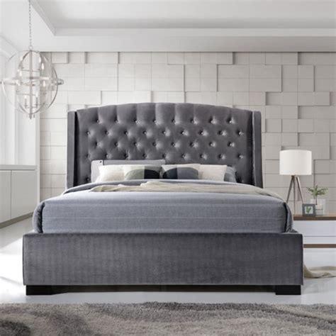 grey velvet bed epsilon double bed in dark grey velvet fabric with black