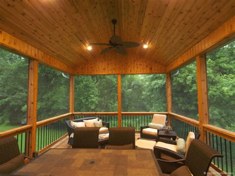 Country Farmhouse Plans With Wrap Around Porch rustic porch with knotty pine ceiling amp screened porch