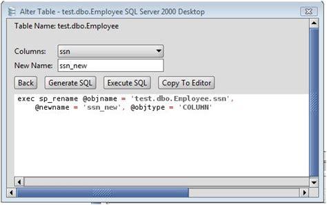 ms sql server rename a column on an ms sql server database