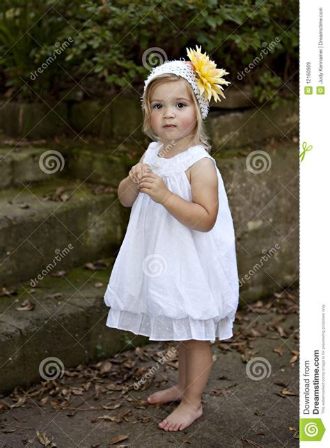 how to a two year two year in white dress stock image image 12160969