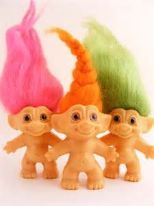trolls with colored hair vintage troll dam dolls neon color hair pink green orange lot