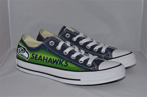 seahawks shoes seahawks converse shoes by seattleartshoes on etsy