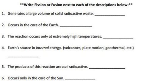 Nuclear Fission And Fusion Worksheet by Fission Vs Fusion Nuclear Chemistry