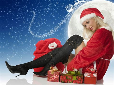 happy  year santa claus girl hd wallpaper  wallpaperscom