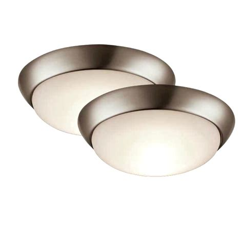 flush mount ceiling lights shop project source 2 pack 11 in w brushed nickel led