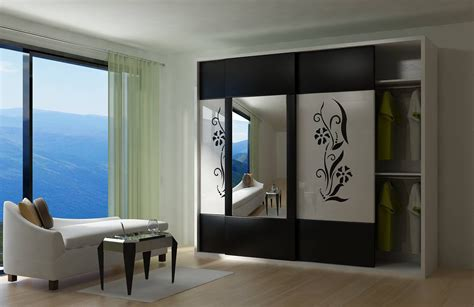Glass Door Wardrobe Designs Modern Wardrobe With Sliding Door And Large Mirror Idea Feat Luxury Chaise Lounge Plus Black