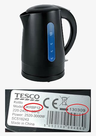 tesco rapid boil kettle recall electrical safety