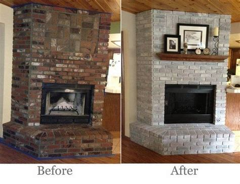 Renovating Brick Fireplace by Brick Fireplace Makeover Before After Pictures Home