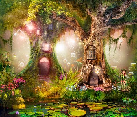 wall mural tree houses   fairies muraldecalcom