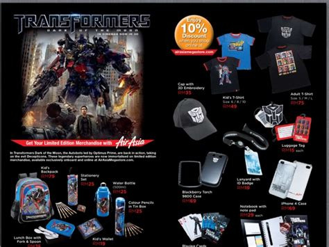 airasia merchandise airasia offers transformers dark of the moon merchandise