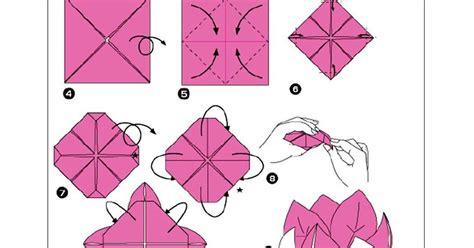 membuat bunga lily dari kertas lipat origami cara membuat net membuat origami bunga teratai