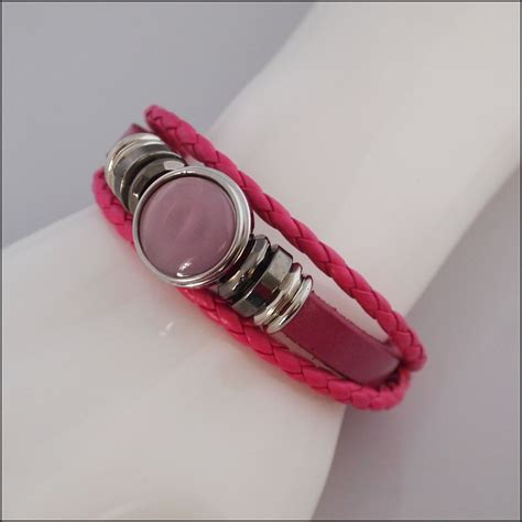 Snap Button Bracelet Pink braided snap button bracelet pink find something special
