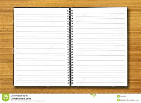 white open notebook on wood stock image image 20456171