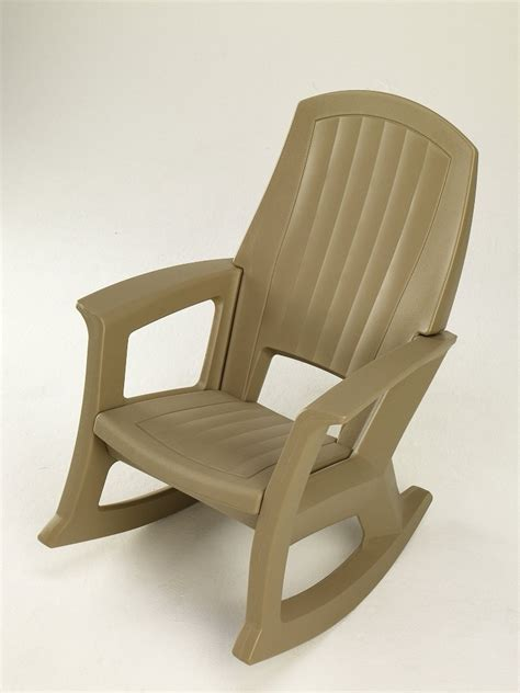 Resin Rocking Chair by Semco Plastics Taupe Resin Outdoor Patio Rocking Chair