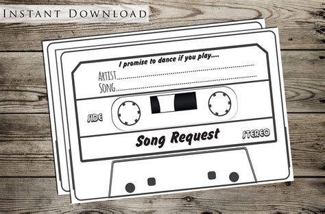 Wedding Song Request Card by Wedding Song Request Card Diy Printable