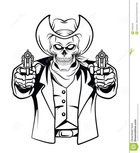 Kaos Jaws cowboy skull vector illustration stock vector image