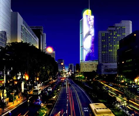 Light On Indonesia media facades high tech digital building wraps